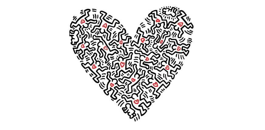 People with red hearts making the shape of a heart. Illustration by Keith Haring.