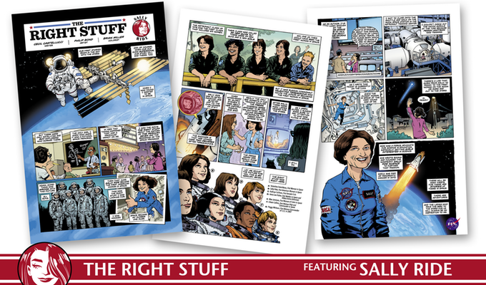 Comic panels about Sally Ride from Femme Magnifique