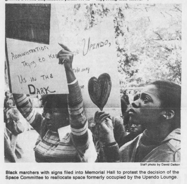 During University Day 1976, students protested the reallocation of Upendo Lounge in Chase Hall. (The Daily Tar Heel, October 13, 1976.)