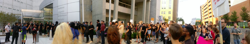 Panoramic photo in from of Durham County Jail by Ruby Sinreich