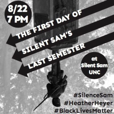 The first day of Silent Sam's last semester, 8/22 7pm