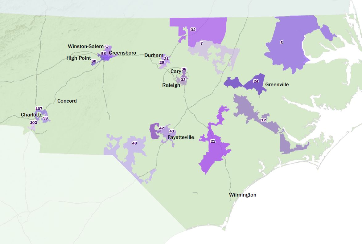 Detail if gerrymandered NC house districts by districks