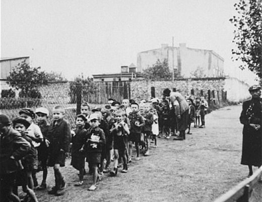 Children leaving the Lodz ghetto for the death camp at Chelmno