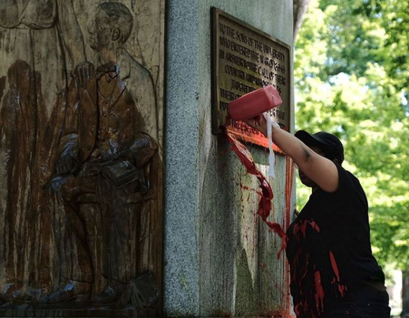 Red paint is poured on the statue called #silentsam at #uncchapelhill; a statue that celebrates a racist history in a public space unavoidable to students and community members who are threatened by it and the white supremacy it represents.