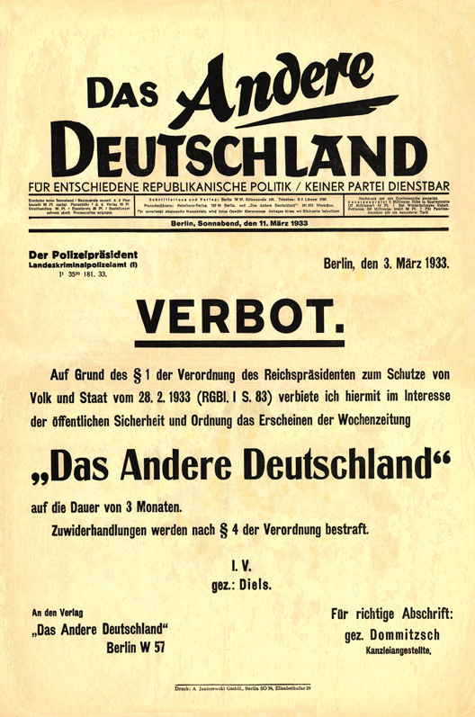 Das Andere Deutschland's final issue, announcing its own prohibition on the basis of the Reichstag fire decree.