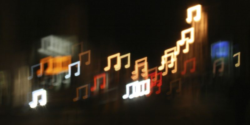 musical notes of various colors coming in and out of focus